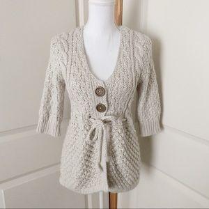 KENJI Knit Alpaca Cardigan Cable Knit SIZE M